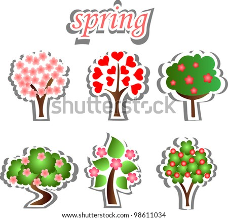 Set of spring trees, the vector - stock vector