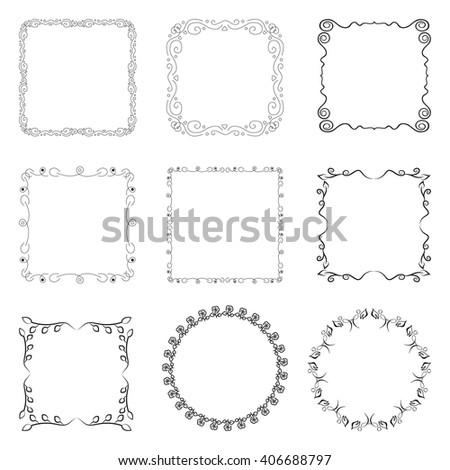 Set of square and round frames. Collection of decorative elements for design.