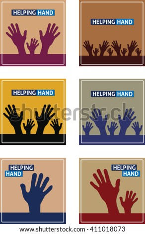 Set of square background with flat hand symbol. Eps 10
