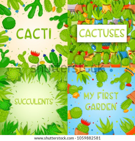 Set of 4 square banner templates with cactuses and succulents. Home cactus plants with prickles and flowers. Exotic tropical collection of various succulents