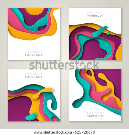 Set of square banner templates with paper cut shapes. Bright modern abstract design. Vector Illustration.