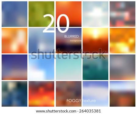 set of 20 square blurred
