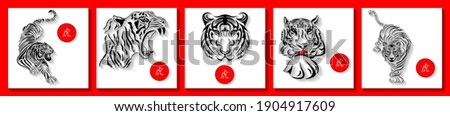 Set of square cards with tigers. Oriental zodiac symbol of 2022, year of the tiger.  Hieroglyph means Tiger. Suitable for social media post, mobile app, banner design and web or internet ad.