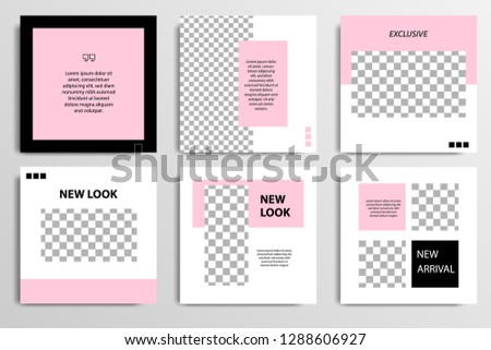 Set of square editable social media post template banner in black, white and pink color. #1288606927