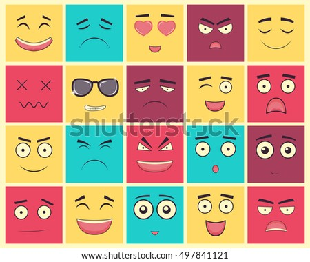 set of square emoticons