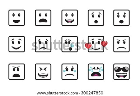 set of square icons in