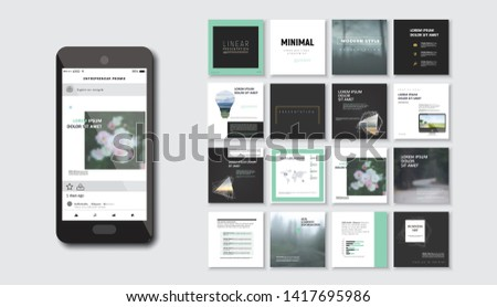 Set of square modern blog posts .Editable simple blur banner shop, trendy covers idea. Slides for app, web digital style. Cards handpicked beauty screen. Technology collection.  #1417695986