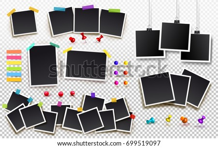 Set of square photo frames on sticky tape, pins and rivets. Template photo design. Vector illustration. Isolated on transparent background