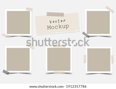 Set of square photo frames with adhesive tape and a piece of torn paper. Mockup for design, portfolios, social media or branding. Mood Board Blank template. Vector 3d realistic. 5 empty photo cards.