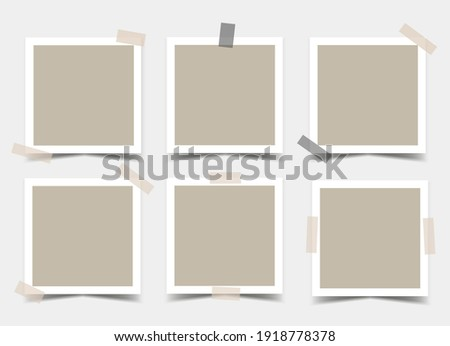 Set of square photo frames with various adhesive tapes. Vector 3d realistic. Mockup for design or presentation. Blank Template. 6 empty beige photo cards with black and beige sticky tape. EPS10. Photo stock ©
