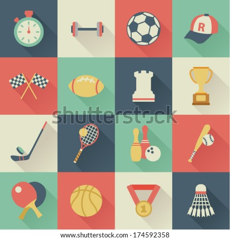 set of square sport icons