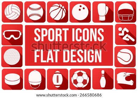 Set of square sport icons with long shadows in flat design. Vector Illustration.