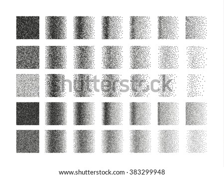 Shutterstock Set of 35 square stipple pattern for design. Spot shade engraving retro to create brushes. Highly detailed set of tile