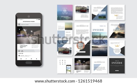 Set of square stylish, trendy layout templates for social media, mobile apps or flyer design. Social media pack. Startup. - Vector #1261519468