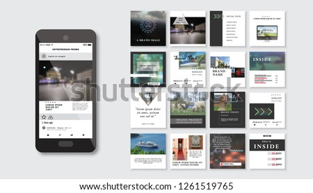 Set of square stylish, trendy layout templates for social media, mobile apps or flyer design. Social media pack. Startup. - Vector #1261519765