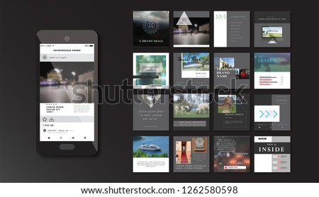Set of square stylish, trendy layout templates for social media, mobile apps or flyer design. Social media pack. Startup.  #1262580598