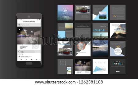 Set of square stylish, trendy layout templates for social media, mobile apps or flyer design. Social media pack. Startup.  #1262581108
