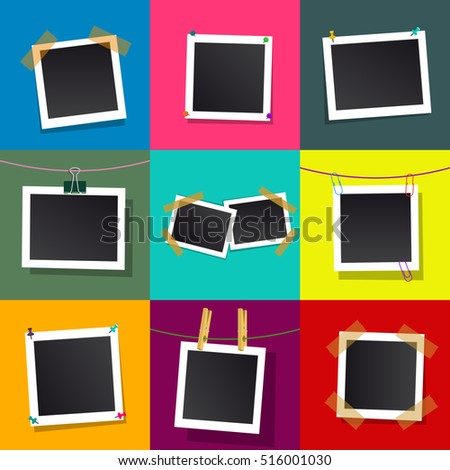 Set of square vector photo frames. Isolated on color background.