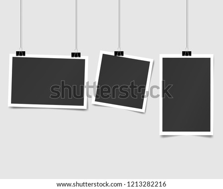 set of square vector photo frames on pins. Vertical and horizontal template photo design