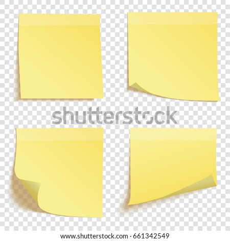 Set of square yellow sticky notes isolated on transparent background, vector illustration