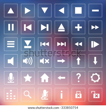 Set of squared icons for media player on blurred background