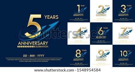 set of 1st-10th elegance golden anniversary celebration emblem. anniversary elegance golden logo with blue arrow ribbons design for web, game, poster, booklet, leaflet, flyer, magazine, greeting card