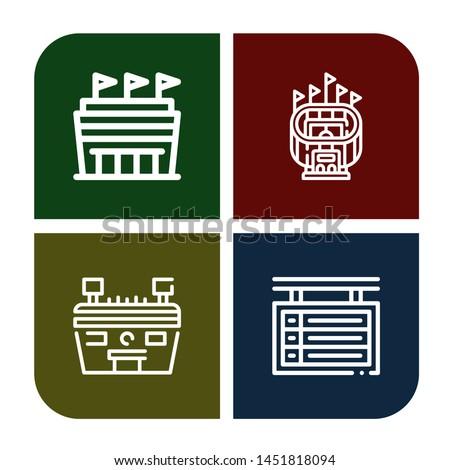 Set of stadium icons such as Stadium, Scoreboard , stadium