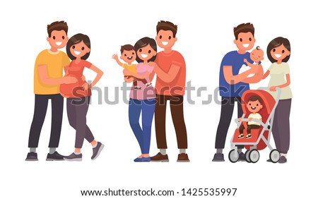 Set of stages of family development. Pregnancy, the birth of the firstborn and second child. Vector illustration in flat style
