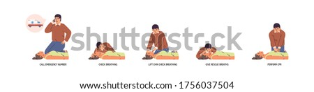 Set of stages to perform emergency first aid vector flat illustration. Instruction to medical cardiopulmonary resuscitation procedure isolated. Technique for chest compression to support breath