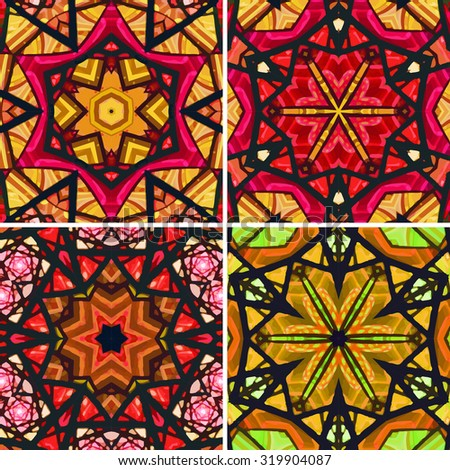 set of stained glass patterns