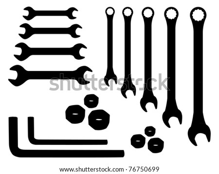 set of stainless spanners -silhouette illustration