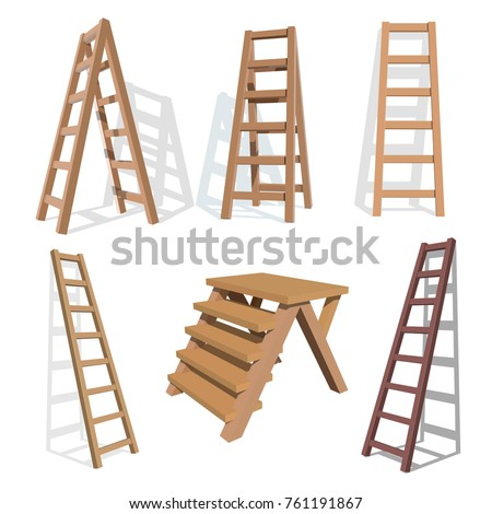 Set of stairs. Wooden staircase on a white background. Vector ladder  illustration stock photo