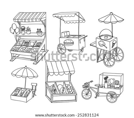 set of stall shop and cart ...
