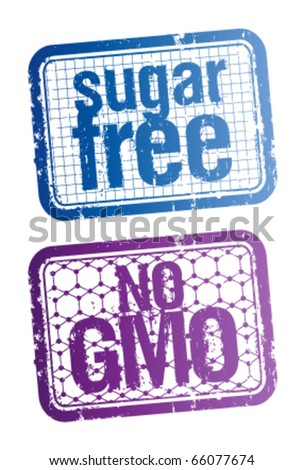 Set of stamps for sugar free and bio food.