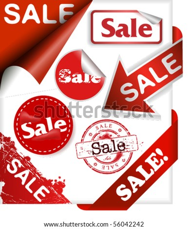 Set of stamps, ribbons, corner signs, stickers and labels with word sale