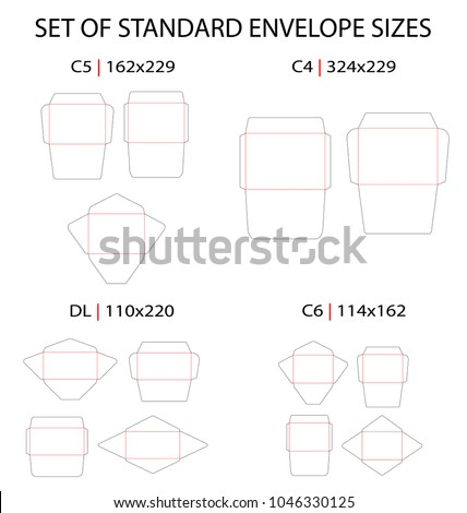 Set of 4 standard types of envelopes vector die cut template: DL, C6, C5, C4. Different shapes: commercial flap, side seam, baronial. Vector black isolated circuit envelope, A6, A5, A4, DL dimensions.