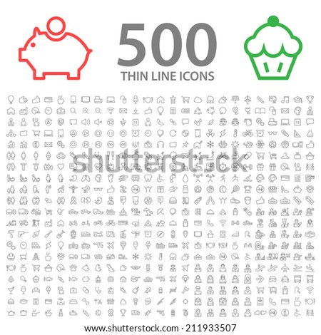 Set of 500 Standard Universal Minimal Modern Thin Stroke Black Icons on White Background.