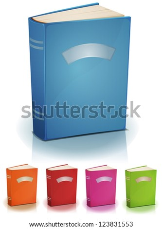 Set Of Standing Books With Label/ Illustration of a set of cartoon standing book with labels and copy space isolated on white background
