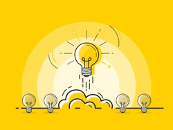 Set of standing light bulbs with one glowing rocket launch. Trendy flat vector light bulb icons with concept of idea on yellow background.