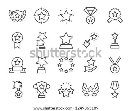 set of star icons, such as celebration, success, glory, sparkle, award, premium