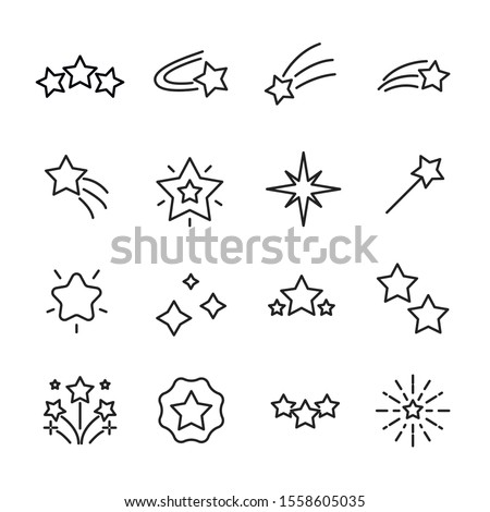 set of star related vector line