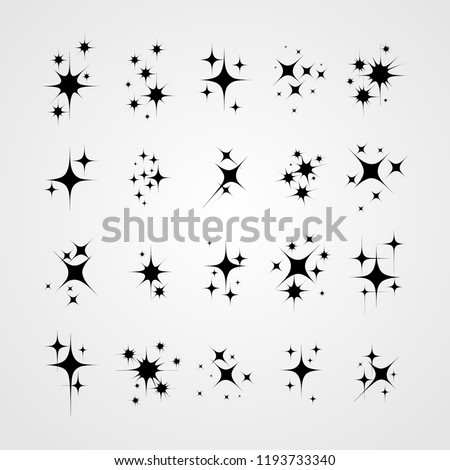Set of star sparkling and twinkling cartoon. Black glittering star light particles. Vector illustration. Isolated on white background.