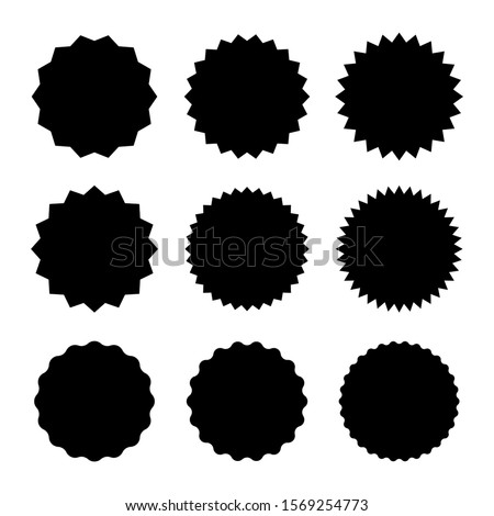 Set of starburst badges icon. Sunburst stickers for price, promo, quality, sale tags. Vector graphic design.