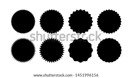 Set of starburst badges. Sunburst stickers. Black and white labels - Vector #1451996156