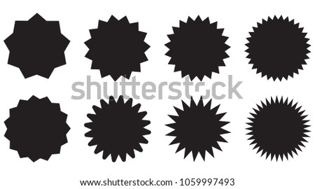 Set of starburst, sunburst badges. Design elements - best for sale sticker, price tag, quality mark. Flat vector illustration isolated on white background. #1059997493