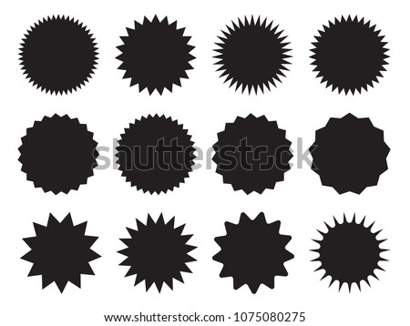 Set of starburst, sunburst badges. Design elements - best for sale sticker, price tag, quality mark. Flat vector illustration isolated on white background. #1075080275