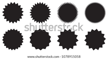 Set of starburst, sunburst badges. Design elements - best for sale sticker, price tag, quality mark. Flat vector illustration isolated on white background. #1078915058