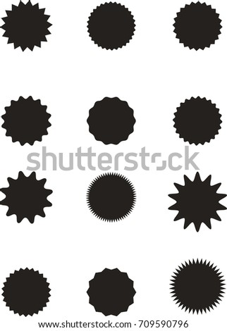 Set of starburst, sunburst badges, labels, stickers.Black on white color. Simple flat style. Vintage, retro. Design elements. A collection of different types icon. Vector illustration #709590796