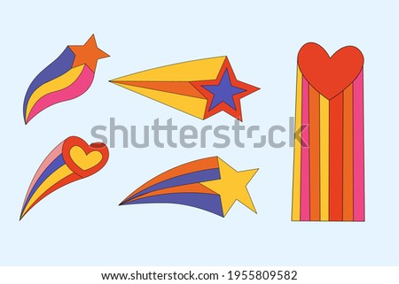 set of stars and hearts from comics.Hippie collection of star shapes.Shooting star.Funky and groovy vintage elements.Astrological star. Hand drawn isolated multicolored.psychedelic and modern magic