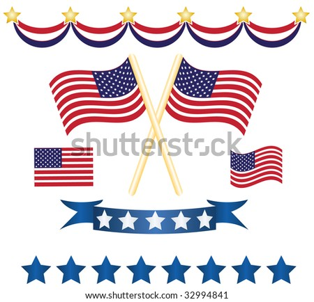 set of stars, banners and flags symbol of america